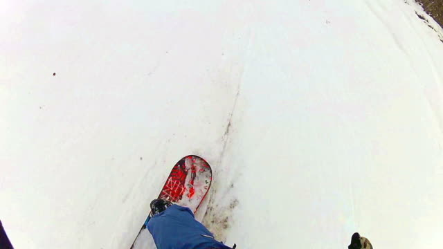 FIRST PERSON VIEW: snowboarder on skislope POV video