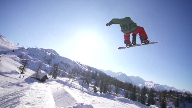 Snowboarder performing a trick in a snow park video