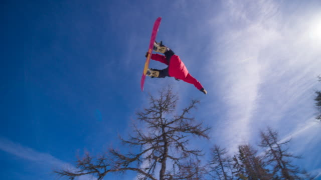 Snowboarder performing a trick on the slopes video