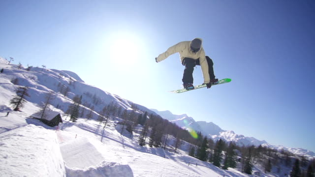 Snowboarder performing a trick video