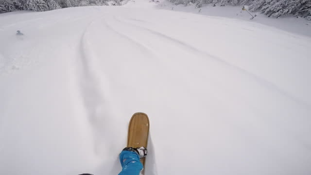 snowboarder riding powder behind skier - snowboarding video stock e b–roll