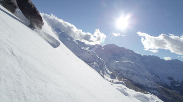SLOW MOTION: Snowboarder speeding pass the camera video