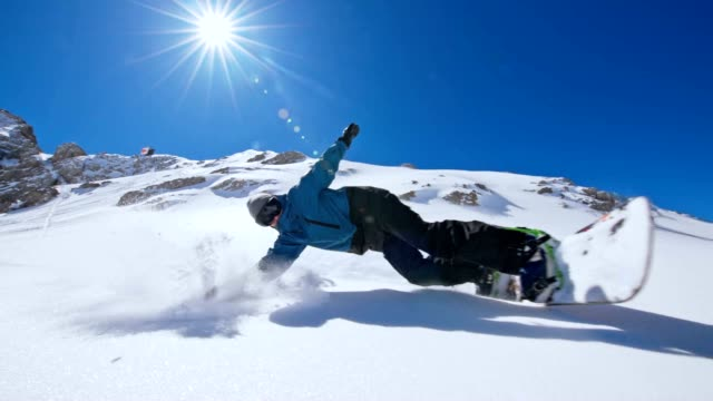 SLO MO Snowboarder spraying snow at the camera video