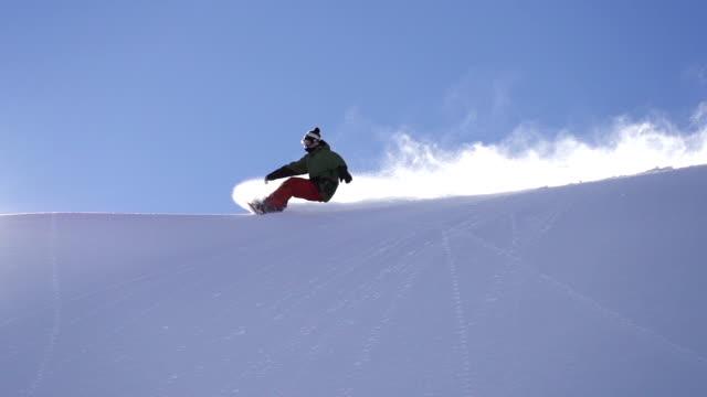 Snowboarding fresh snow turn video