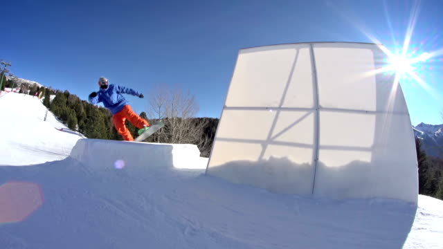 Snowboarding wallride video