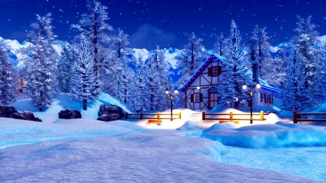 snowbound beleuchtete alpine haus nachts winterzauber - blockhütte stock-videos und b-roll-filmmaterial