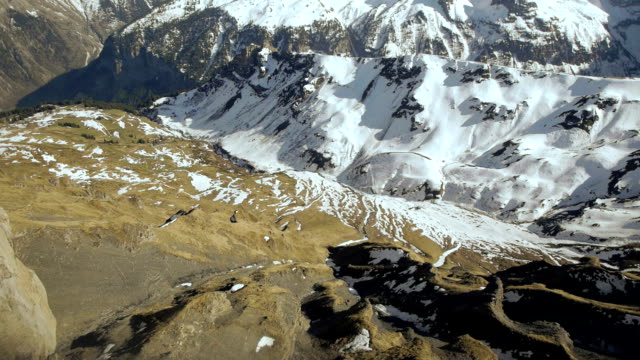 snowcapped mountain panorama snow melting alps glaciers video