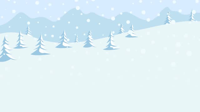 Snowfall in the mountains. Falling snowflakes on the forest. Animation of a winter background with copy space. Looping 4k footage