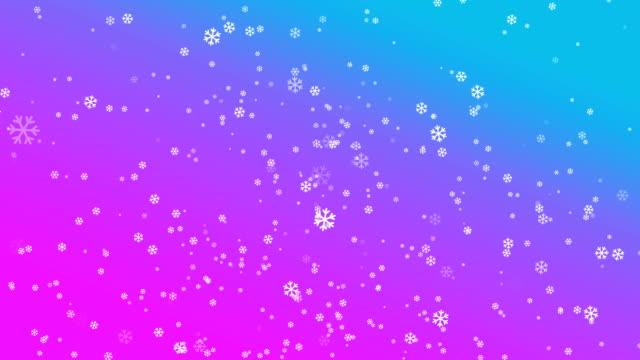 4K Snowflake Abstract Loop wallpaper in blue pink background