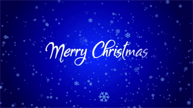4K Snowflake Abstract Loop wallpaper with Merry Christmas text in blue background