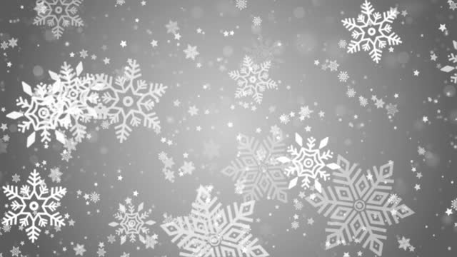 Video snowflakes in different shapes and forms. Many white cold flake elements on loop background.