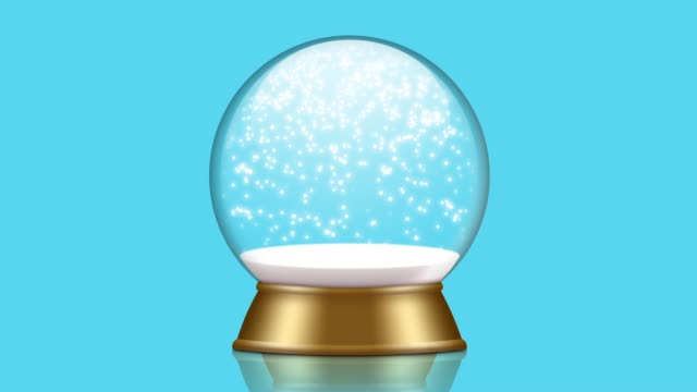 snowglobe animation with falling snow - vídeo