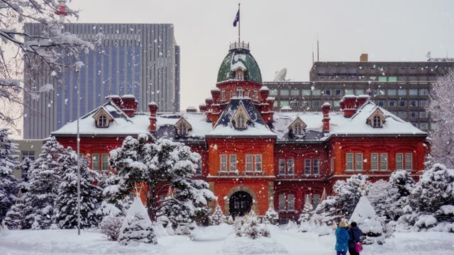 Snowing day at the Former Hokkaido Government Office in Sapporo, Hokkaido, Japan.
