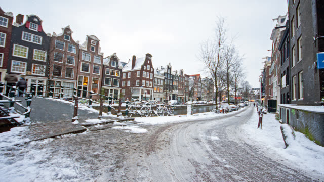 snowing in amsterdam the netherlands in winter - disordine affettivo stagionale video stock e b–roll