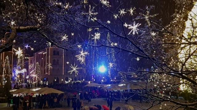 Snowing in Ljubljana o Preseren Trg at Christmas time