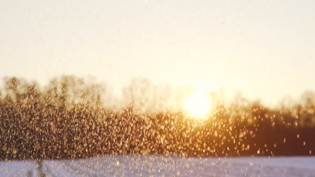 HD SUPER SLOW-MO: Snowing Over A Landscape video