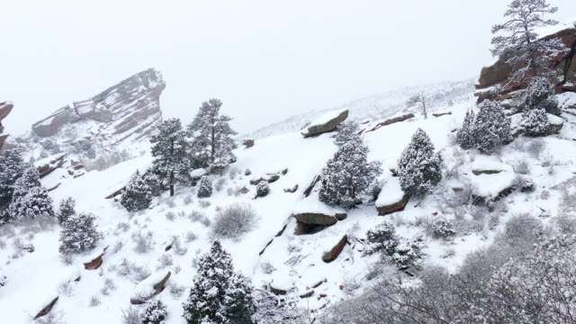 Snowing Red Rocks Park and Amphitheater Morrison Colorado winter tunnel video