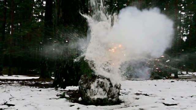 Snowman, firecrackers explode in slow motion 1000 fps Snowman, firecrackers explode in slow motion 1000 fps snowman stock videos & royalty-free footage