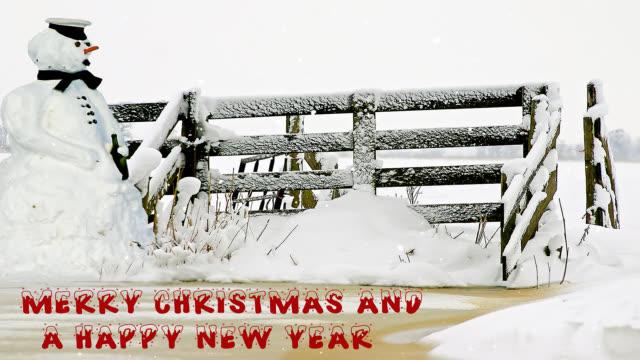schneemann auf dem lande in verschneiten umgebung zu weihnachten - karotte peace stock-videos und b-roll-filmmaterial