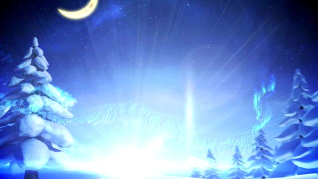 Snowman inside snow globe with magic lights video
