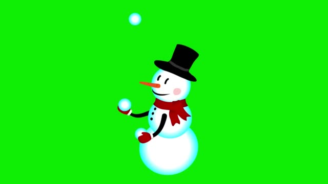 Snowman juggling snowballs animation green screen Cute Snowman character juggling with snowballs animation new year, Merry Christmas greetings green screen chromakey background snowman stock videos & royalty-free footage