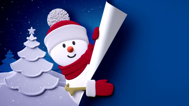 snowman looking out the wall, Christmas greeting card template, Holiday background 3d illustration video