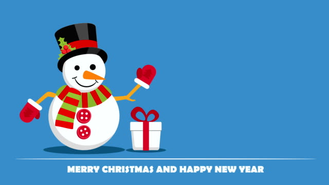 Snowman near gift box with ribbon and text below on Christmas Eve.