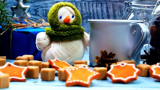 Snowman on Christmas table video