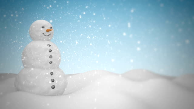 Snowman with snowfall HD 1080 Loopable snowman stock videos & royalty-free footage