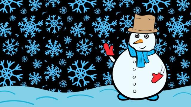 Snowman xmas and dark blue snowflakes