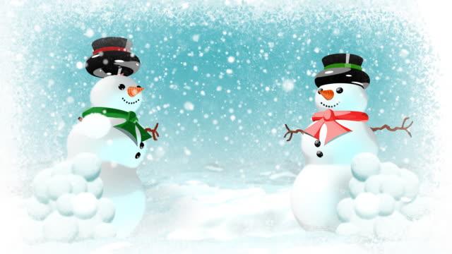 Snowmen having snowball fight. Loopable. Happy Holidays version.