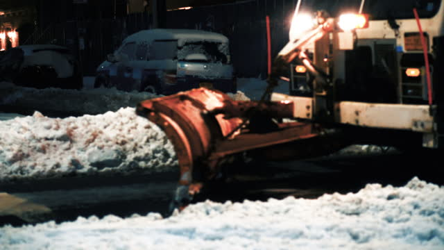 Snowplowing street after heavy snow