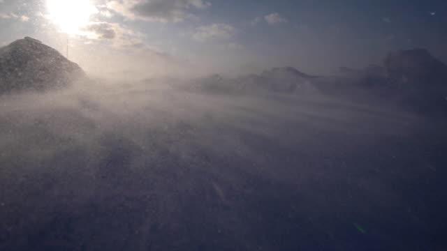 snowstorm in the arctic. frozen snow drifts - snöstorm bildbanksvideor och videomaterial från bakom kulisserna