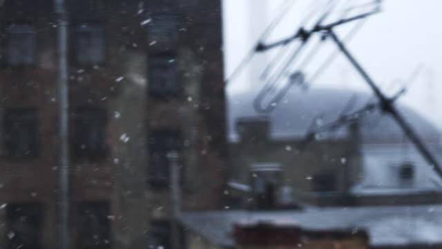 tempesta di neve in città. - san pietroburgo russia video stock e b–roll