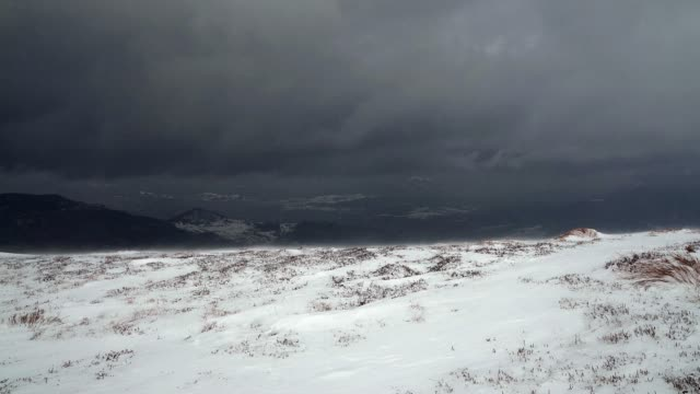 snowstorm in the winter hills video
