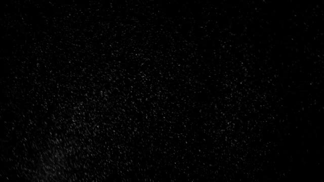 Snowstorm on Black This detailed snow particle effect is actually a macro shot of flour being blown in front of the camera to look like snow. You can place this clip over any footage to make a realistic snowstorm. Just go to your opacity settings and set the blending mode to screen. Avoid keying, it's on black to be used as an additive overlay. flour stock videos & royalty-free footage
