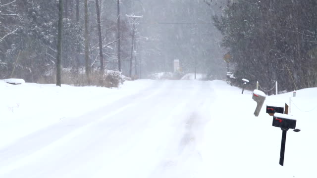 Snowy and Icy Two Lane Country Road video