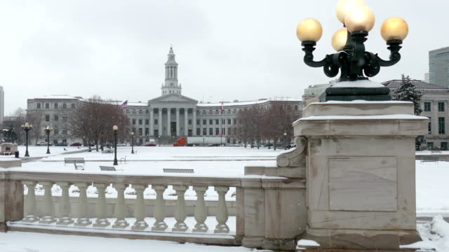 Snowy Civic Center Park Denver County Courthouse lights Colorado winter video