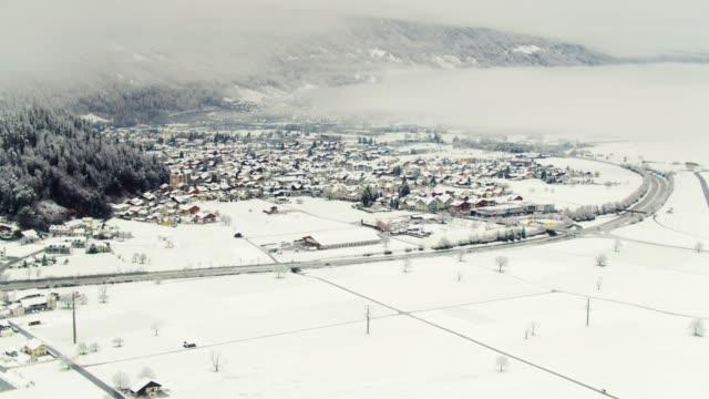 Snowy Day in Interlaken, Switzerland - Aerial View video