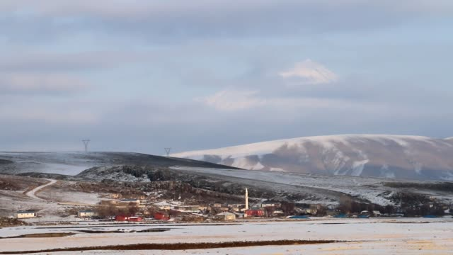 Snowy Hills With Small Village And Distant Mount Ararat video