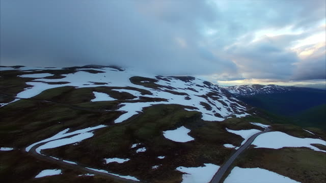 Snowy landscape of national tourist route Aurlandsfjellet in Norway. video
