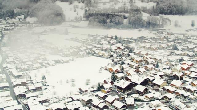 Snowy Morning in Interlaken - Drone Shot video