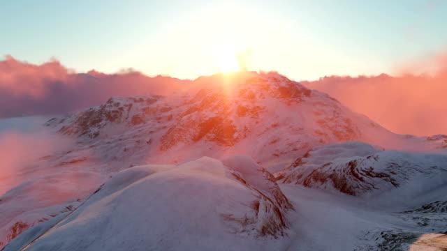 Snowy Mountains und Sonnenuntergang – Video