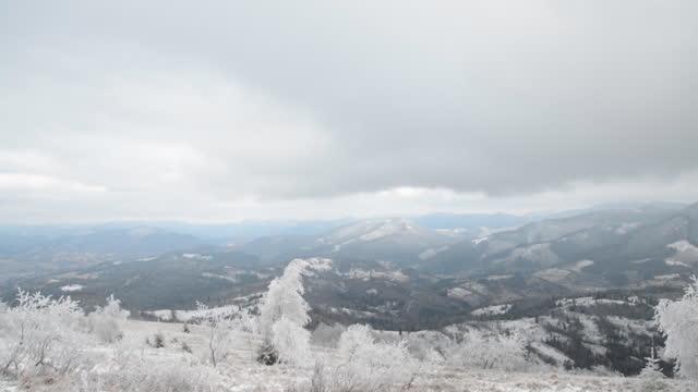 Snowy mountains landscape video