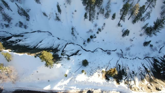 Snowy Mountains road aerial view