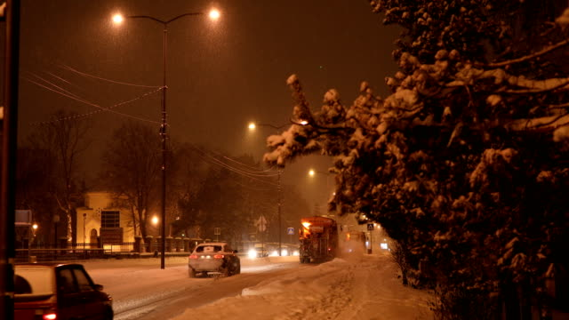 Snowy night in the city video