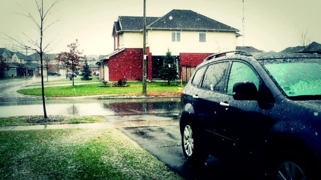 Snowy street. video