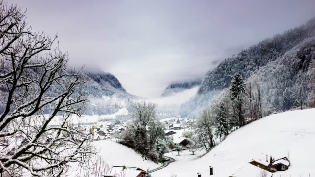 Snowy Valley in the Swiss Alps - Time Lapse video