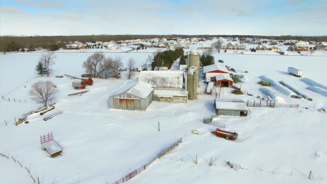 Snowy Winter in Wisconsin; landscape with farms suburbs, homes video
