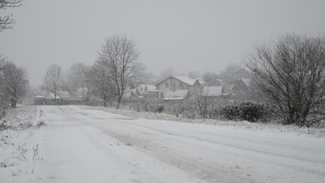 Snowy winter road background video